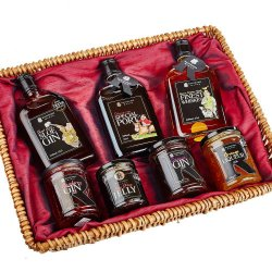 Country Collection Basket - 35cl of Sloe Gin, Port, Whisky. Jams incl. Raspberry Gin, Damson Gin, Orange Gin, Sloe Port Jelly