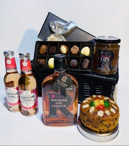 Rhubarb Celebration Hamper: Rhubarb Gin 35cl, Sloe Port Cake, Rhubarb Jam, 2 x 200ml Strawberry & Pomegranate Tonics & Chocolates