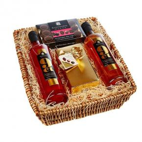 Chocolate Delight Basket : 70cl Toffee and Blood Orange Vodka, Belgian Chocolates and Dark Chocolate Shot Cups
