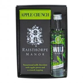 Apple Crunch Chocolate Bar with Apple Vodka Gift Set - Apple Crunch Chocolate bar & 5cl Green Apple Vodka