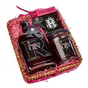 Mini Raspberry Hamper : 35cl Raspberry Gin , Raspberry Gin Jam 350g ,Eton Mess Chocolate bar