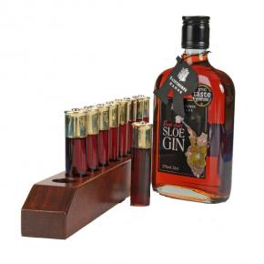 Mahogany Bar Cartridge Holder and Sloe Gin Gift Set