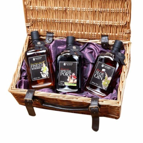 Country Collection 70cl Hamper Includes Game Keepers Whisky, Stirrup Cup Port and Shoot Shots Sloe Gin