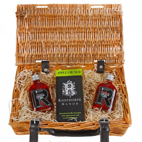 5cl Gin Mix and Chocolate Selection Hamper containing Raspberry Gin, Damson Gin and an Apple Crunch bar