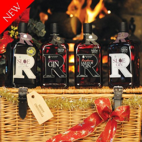 Luxury Winter Hamper : Sloe Gin, Sloe Port, Damson Gin and Raspberry Gin 70cls