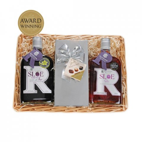 Sloe Delight Basket : 35cl Sloe Gin, 35cl Sloe Port  and box of Belgian Chocolates