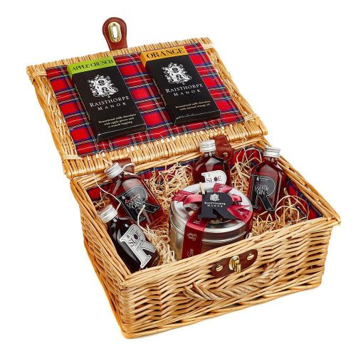 5cl Collection and Sloe Gin Fruit Cake Hamper : Sloe Port ,Sloe,Raspberry,Damson Gins ,Apple and Orange Choc bars
