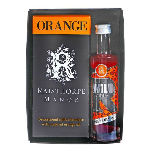 Orange Chocolate Bar with Vodka Gift Set - Orange Chocolate Bar & Tangy Orange Vodka 5cl