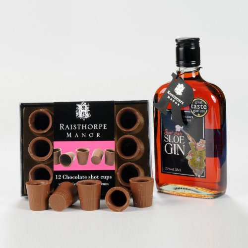 Sloe Gin and Milk Chocolate Shot Cups